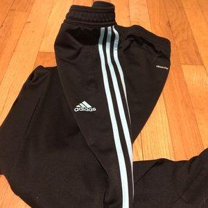 adidas joggers, light teal strips